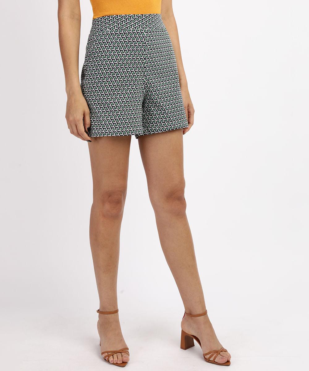 CeA Short Feminino Cintura Alta Estampado Geométrico com Bolsos Azul Marinho