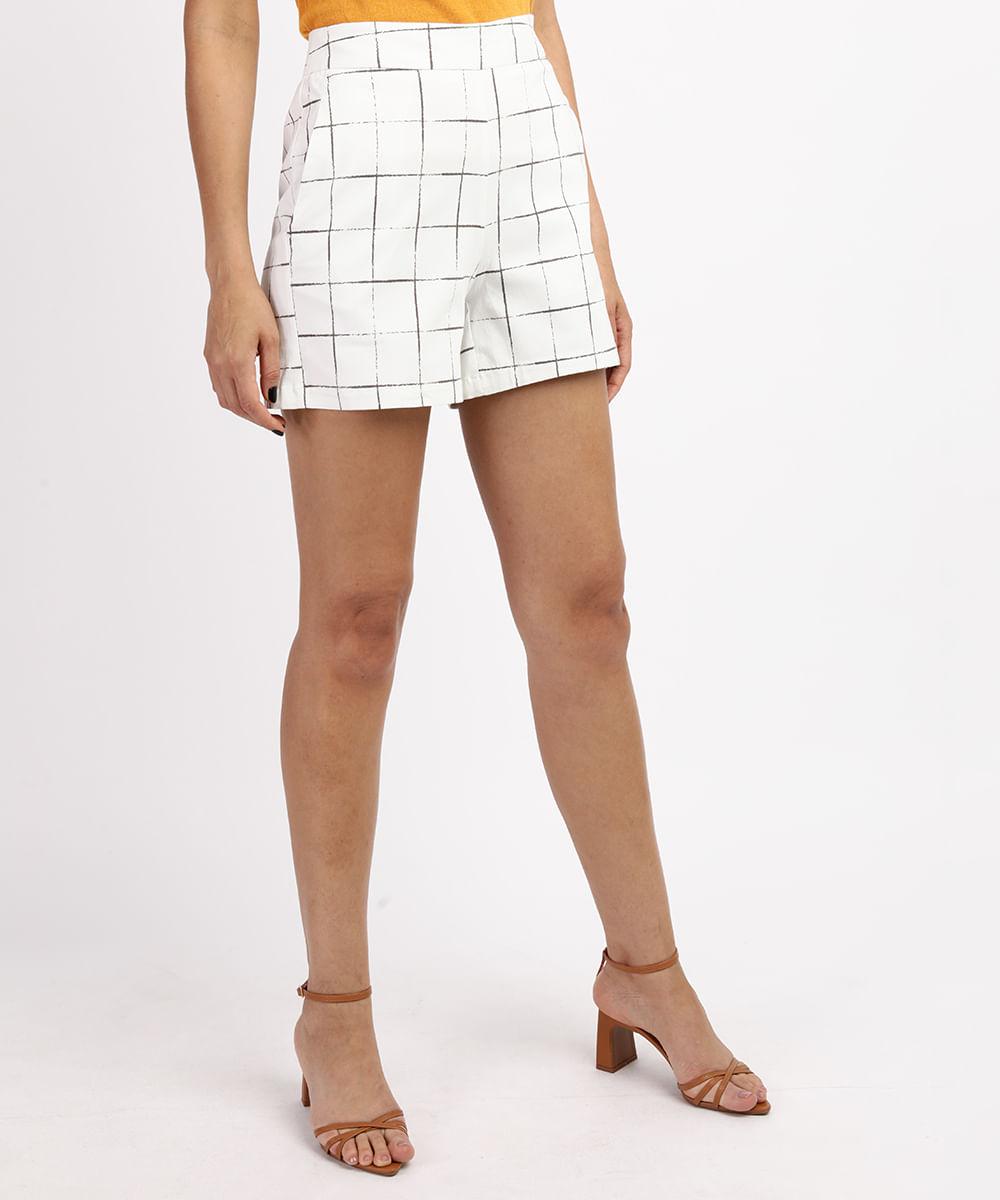 CeA Short Feminino Cintura Alta Estampado Quadriculado com Bolsos Off White