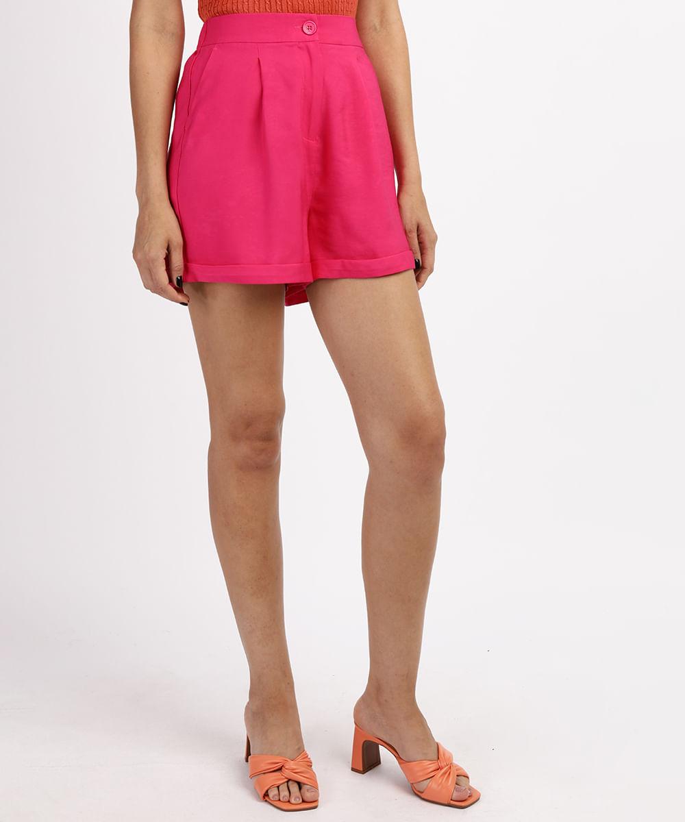 CeA Short Feminino Cintura Alta Alfaiatado com Bolsos Pink