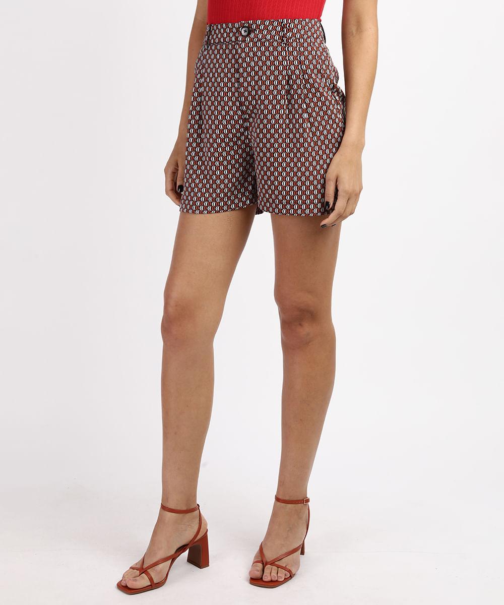 CeA Short Feminino Cintura Alta Alfaiatado Estampado Geométrico com Bolsos Azul Marinho