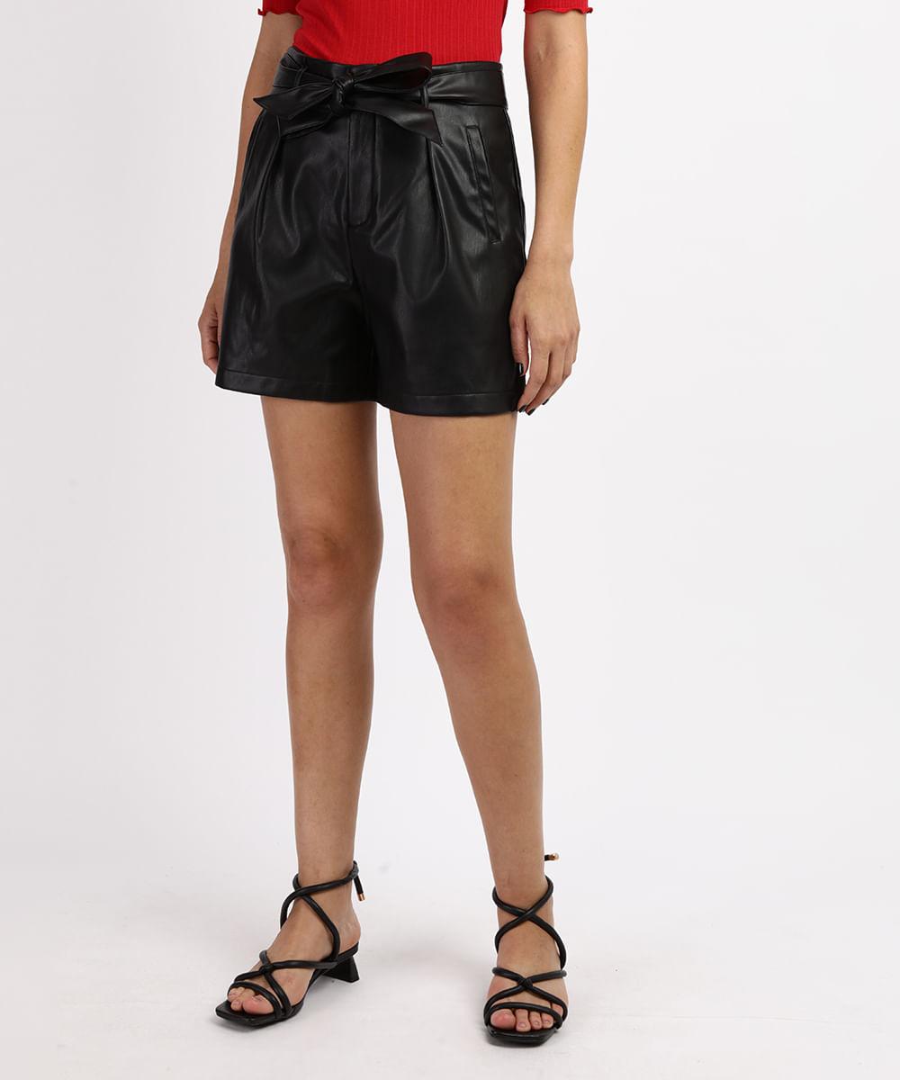 CeA Short Feminino Cintura Alta com Bolsos e Faixa para Amarrar Preto