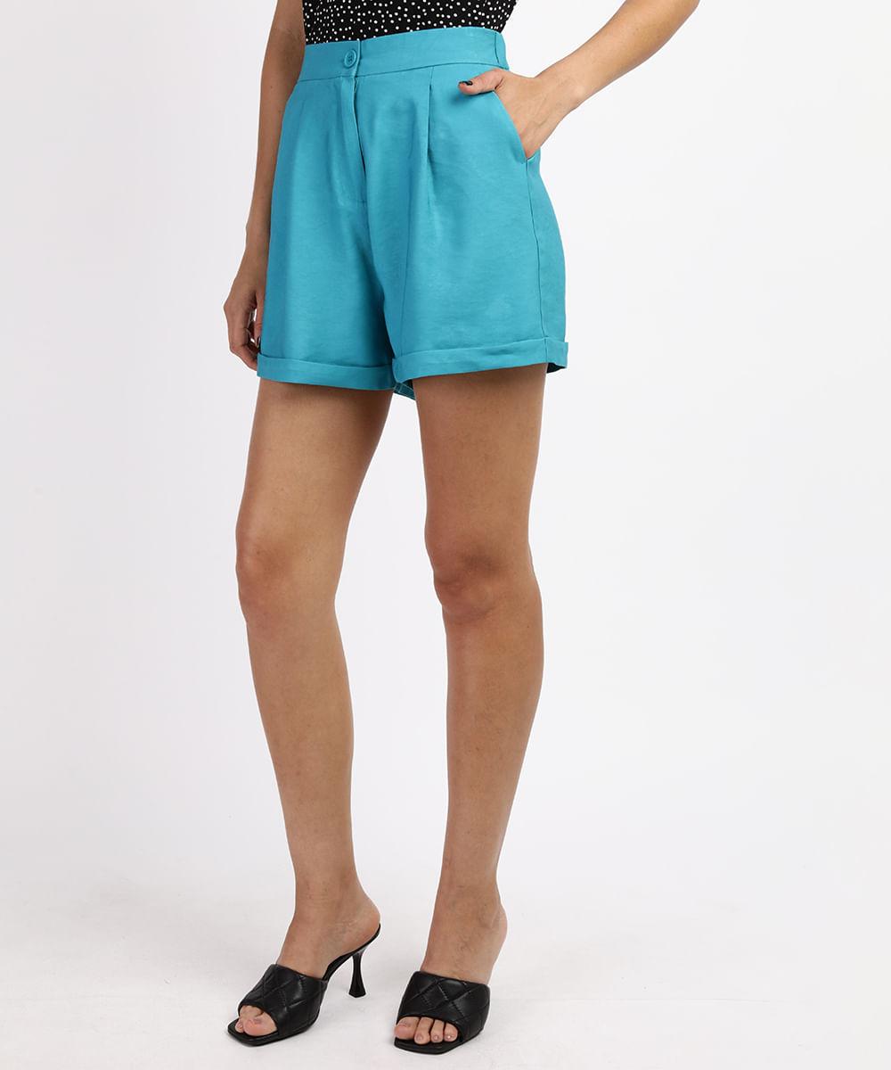 CeA Short Feminino Cintura Alta Alfaiatado com Bolsos Azul