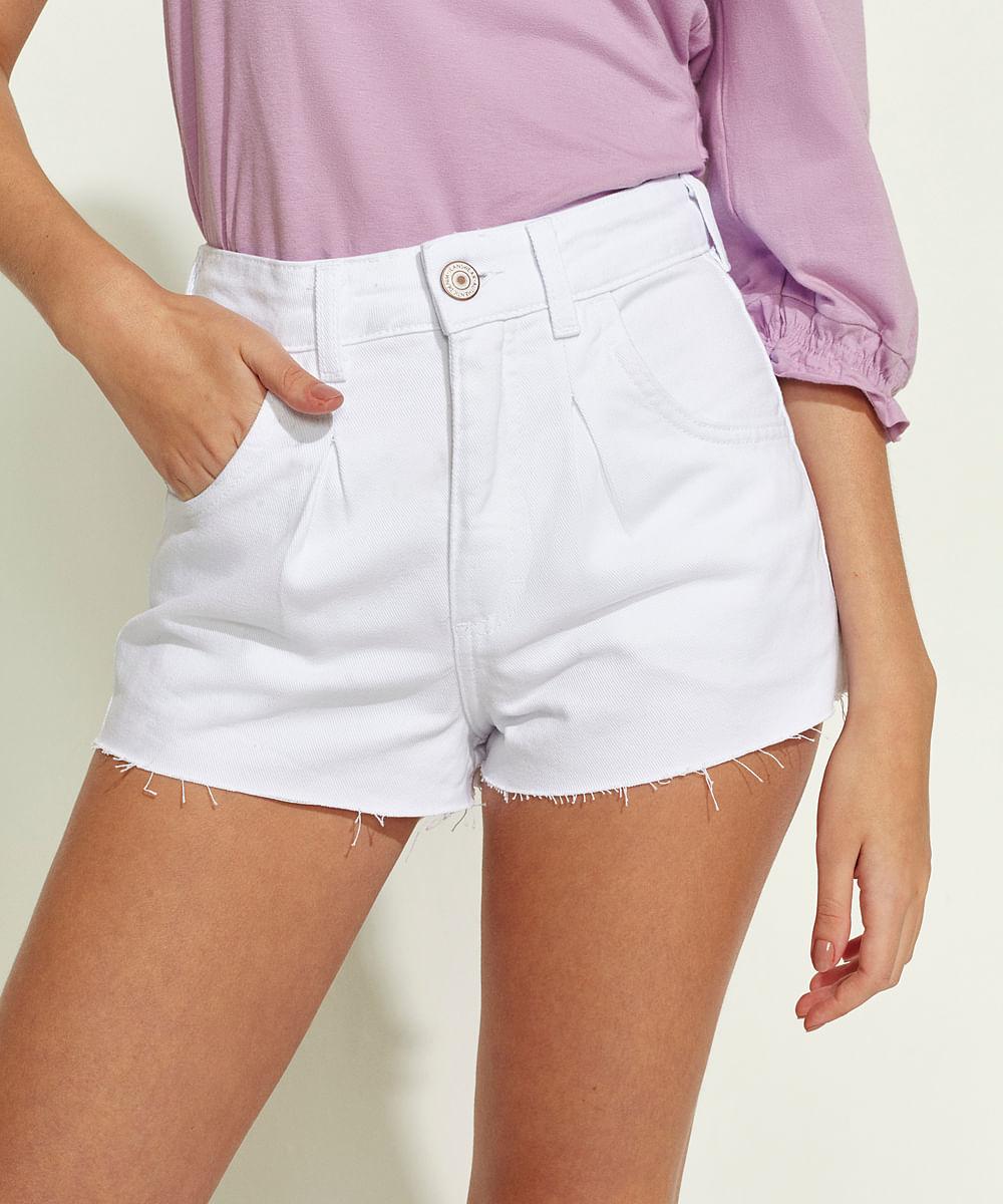 CeA Short de Sarja Feminino Mom Cintura Alta Barra a Fio Branco