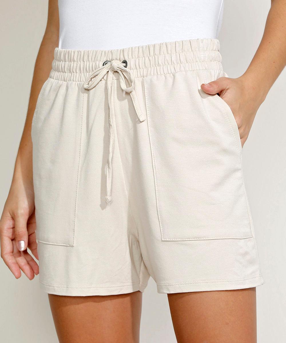 CeA Short de Moletom Feminino Básico Cintura Alta com Bolsos Bege Claro