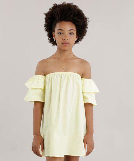 Vestido-Ombro-a-Ombro-com-Babados-Amarelo-Claro-8655897-Amarelo_Claro_1