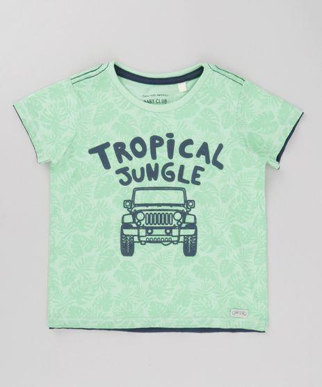 Camiseta--Tropical-Jungle--Estampada-de-Folhagem-Verde-Claro-8683700-Verde_Claro_1
