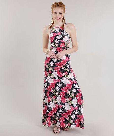 Vestido-Longo-Estampado-Floral--Preto-8700674-Preto_1