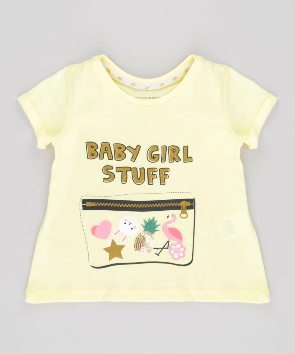 "Blusa ""Baby Girls Stuff"" com Paetês Amarelo Claro"