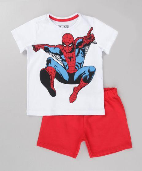Conjunto-Homem-Aranha-de-Camiseta-Branca---Bermuda-em-Moletom-Vermelha-8735267-Vermelho_1