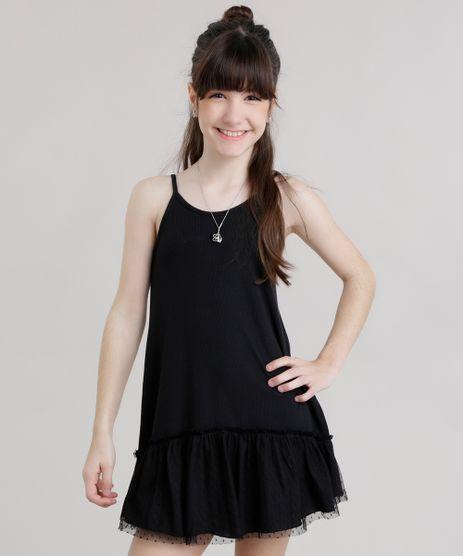 Vestido-Canelado-com-Tule-Preta-8723498-Preto_1