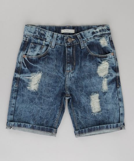 Bermuda-Jeans-Slim-Destroyed-Azul-Escuro-8721635-Azul_Escuro_1