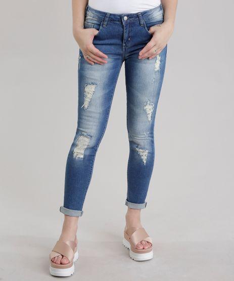 Calca-Jeans-Skinny-Destroyed-em-Algodao---Sustentavel-Azul-Medio-8458616-Azul_Medio_1