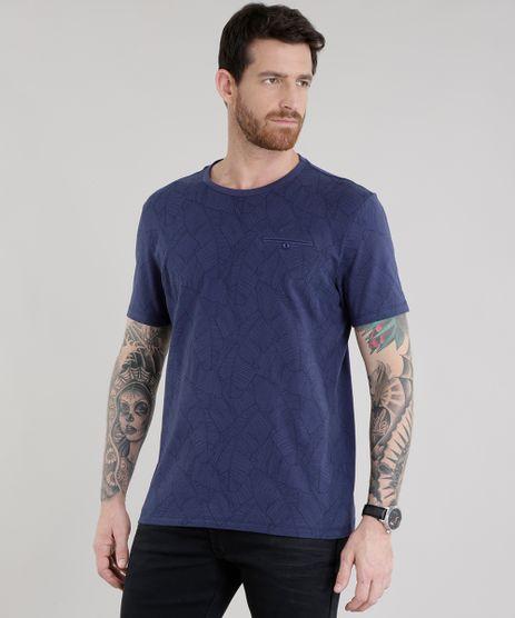 Camiseta-Estampada-de-Folhagens-Azul-Marinho-8708687-Azul_Marinho_1