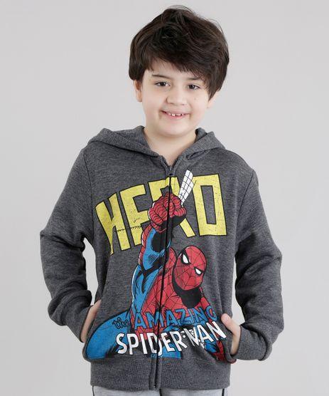 Blusao-Homem-Aranha-em-Moletom-de-Algodao---Sustentavel-Cinza-Mescla-Escuro-8470118-Cinza_Mescla_Escuro_1