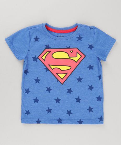Camiseta-Super-Homem-com-Estampa-de-Estrelas-Azul-8778027-Azul_1