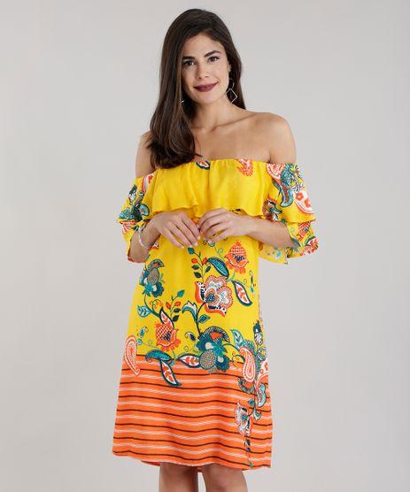 Vestido-Ombro-a-Ombro-Estampado-Floral-com-Babado-Amarelo-8650425-Amarelo_1