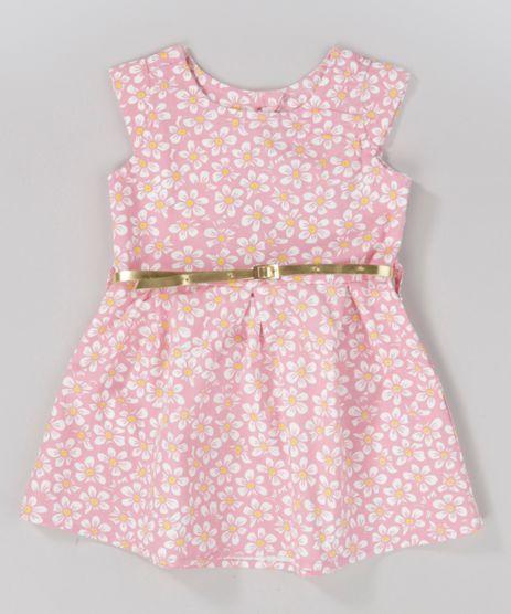 Vestido-Estampado-Floral-com-Cinto-Metalizado-Rosa-8743029-Rosa_1