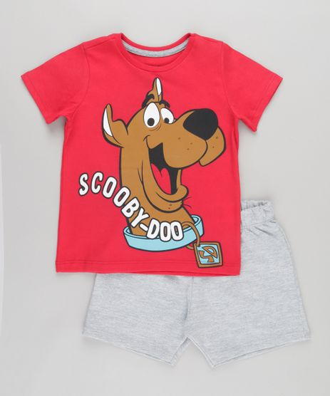 Conjunto-de-Camiseta-Vermelha---Bermuda-Scooby-Doo-Cinza-Mescla-8750505-Cinza_Mescla_1