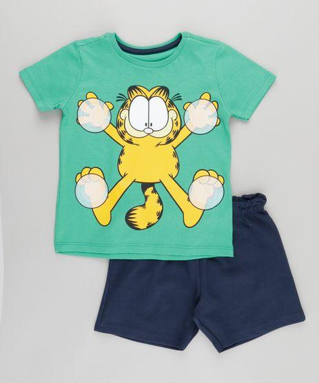 Conjunto-de-Camiseta-Verde---Bermuda-Garfield-Azul-Marinho-8749930-Azul_Marinho_1