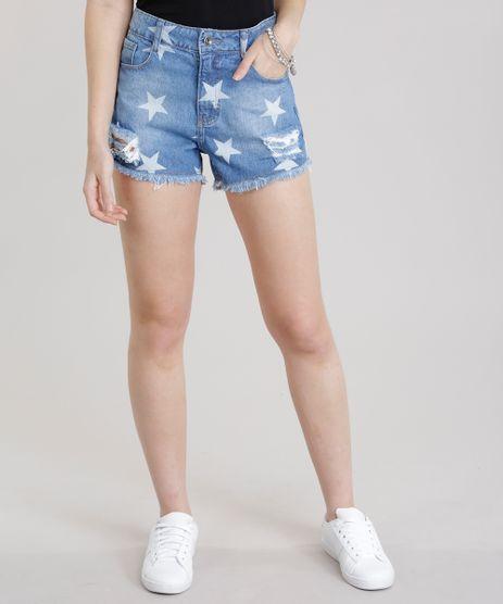 Short-Jeans-Destroyed-Estampado-de-Estrelas-Azul-Medio-8742879-Azul_Medio_1