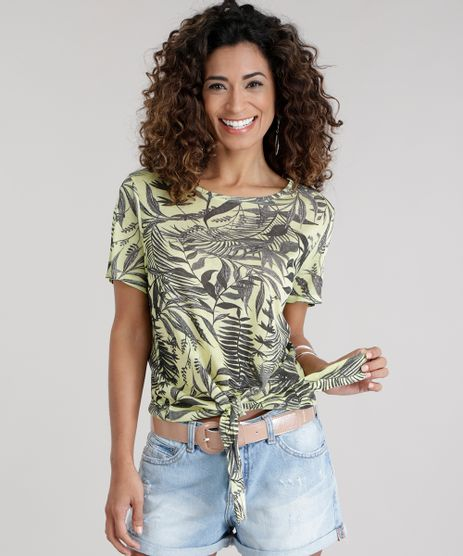 Blusa-Estampada-de-Folhagem-com-No-Amarelo-Claro-8745639-Amarelo_Claro_1
