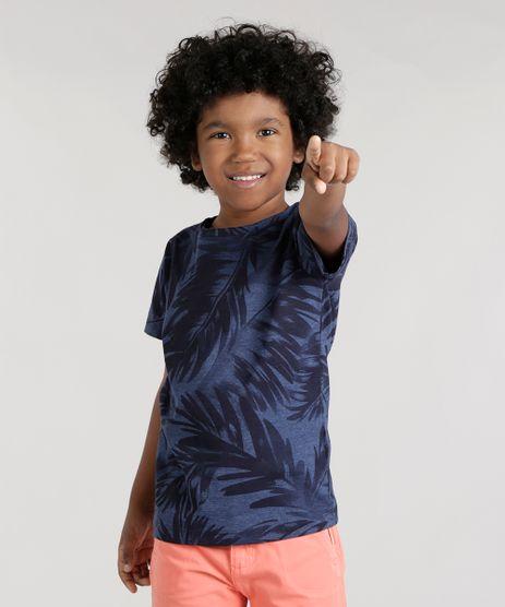 Camiseta-Estampada-de-Folhagens-Azul-Marinho-8742939-Azul_Marinho_1