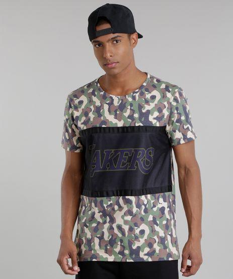 Camiseta-Estampada-Camuflada-NBA-Los-Angeles-Lakers-Verde-Militar-8748166-Verde_Militar_1