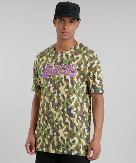 Camiseta-Estampada-Camuflada-NBA-Los-Angeles-Lakers-Verde-Militar-8726777-Verde_Militar_1