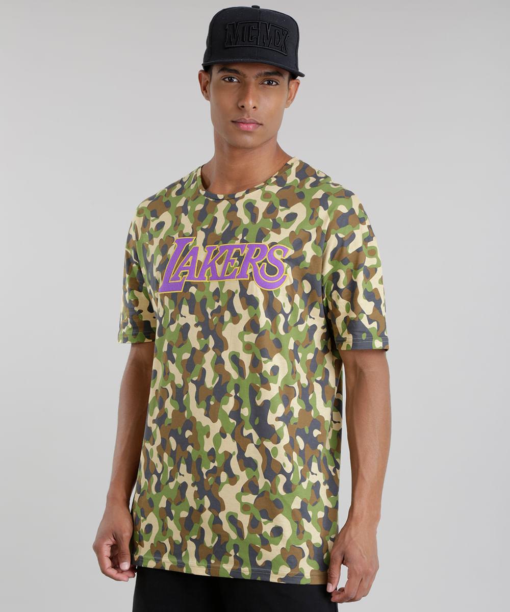 Camiseta Estampada Camuflada NBA Los Angeles Lakers Verde Militar fa3d36243af