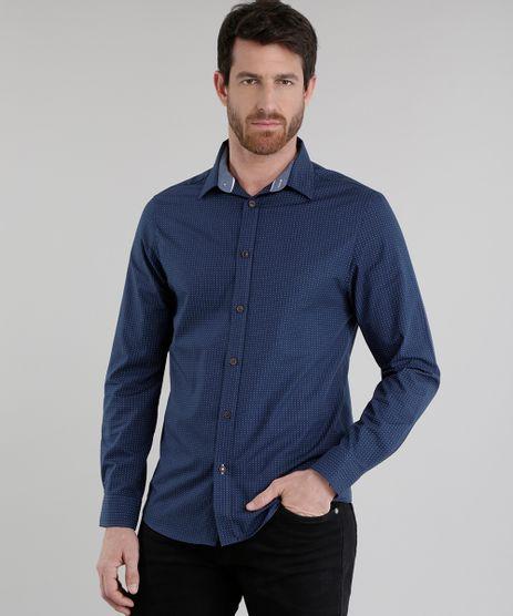 Camisa-Slim-Estampada-de-Poa-Azul-Marinho-8635084-Azul_Marinho_1