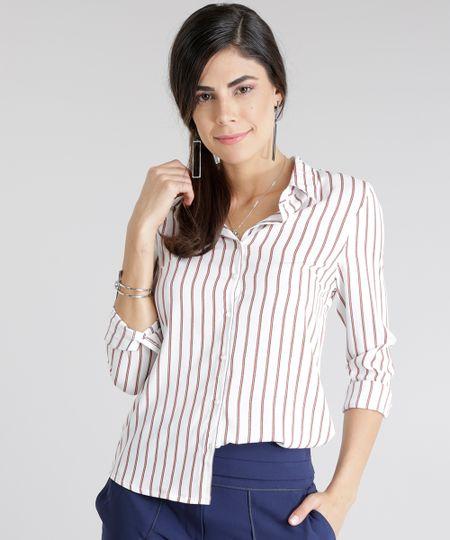 Camisa Listrada Off White