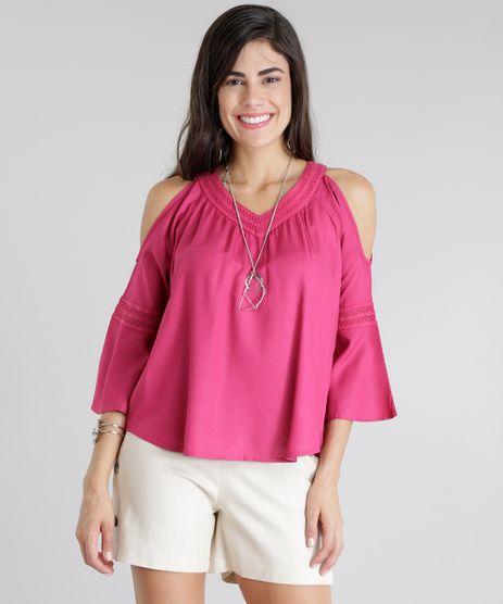 Blusa-Open-Shoulder-com-Guipir-Rosa-Escuro-8737561-Rosa_Escuro_1