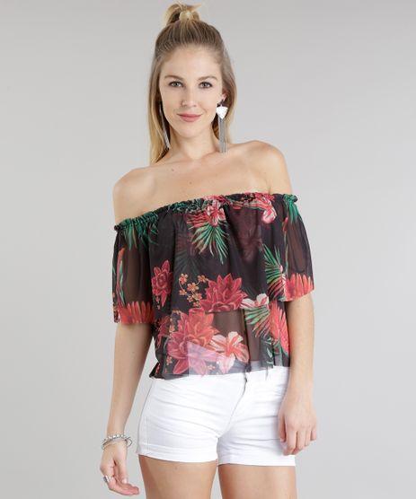 Blusa-Ombro-a-Ombro-em-Tule-Estampada-Floral-Preta-8818774-Preto_1