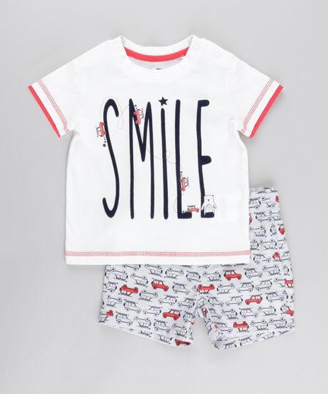 Conjunto-de-Camiseta--Smile--Off-White---Bermuda-Estampada-em-Algodao---Sustentavel-Cinza-Claro-8676871-Cinza_Claro_1