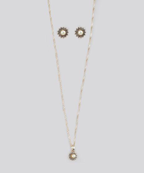 Kit-de-Brinco-e-Colar-com-Strass-Dourado-8689065-Dourado_1