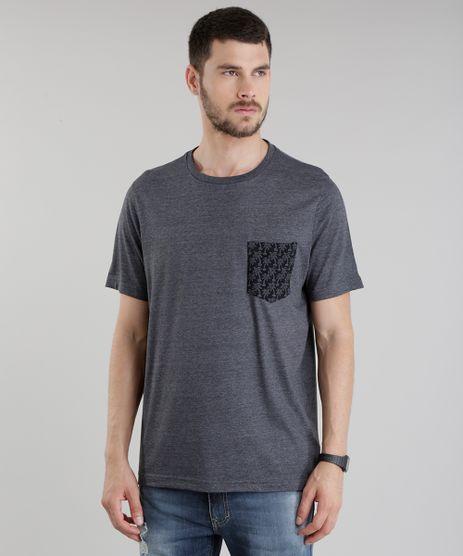 Camiseta-com-Bolso-Estampado-de-Coqueiros-Cinza-Mescla-Escuro-8775532-Cinza_Mescla_Escuro_1