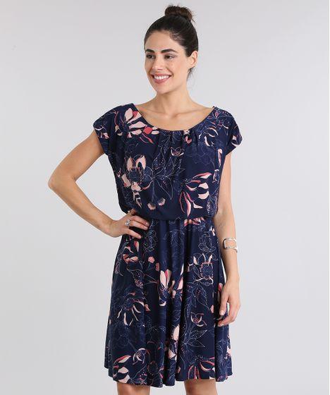 Vestido estampado azul florado