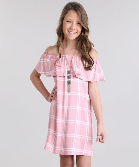 Vestido-Ombro-a-Ombro-Xadrez-Rosa-Claro-8655214-Rosa_Claro_1