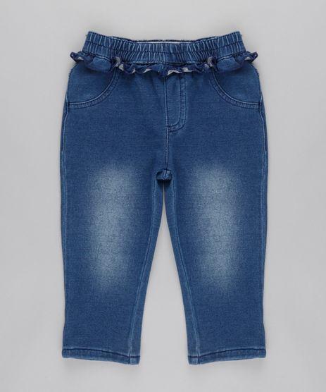 Calca-Jeans-em-Moletom-com-Babado-em-Algodao---Sustentavel-Azul-Medio-8684091-Azul_Medio_1
