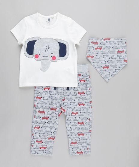 Conjunto-de-Camiseta--Elefante--Off-White---Calca-Estampada-em-Moletom---Babador-Bandana-Estampado-Cinza-Mescla-8676719-Cinza_Mescla_1