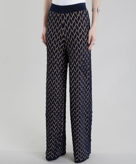 Calca-Pantalona-GIG-Couture-em-Jacquard-de-Trico-Geometrico-Azul-Marinho-8656201-Azul_Marinho_1