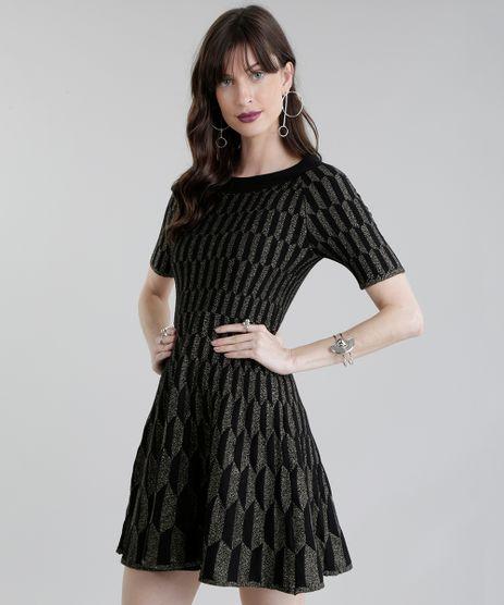 Vestido-GIG-Couture-em-Jacquard-de-Trico-Geometrico-com-Lurex-Preto-8655858-Preto_1