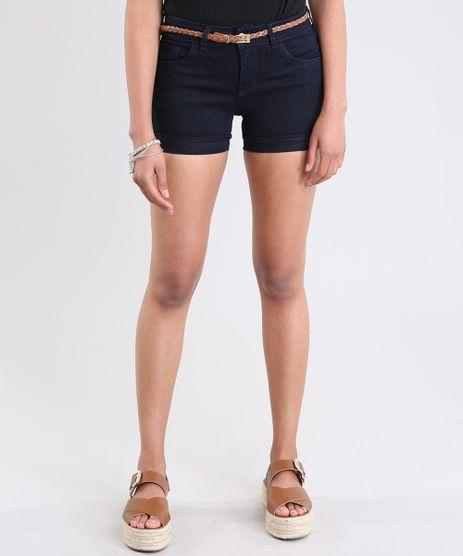 Short-Jeans-Reto-com-Cinto-em-Algodao---Sustentavel-Azul-Escuro-8494496-Azul_Escuro_1