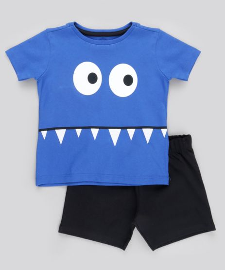 Conjunto-de-Camiseta-Monstrinho-Azul-Royal---Bermuda-em-Moletom-Preta-8823254-Preto_1