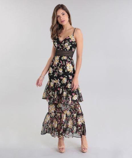 Vestido-Longo-PatBO-em-Tule-Bordado-Floral-com-Babados-Preto-8690957-Preto_1