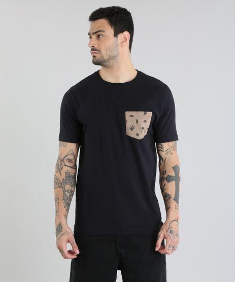 Camiseta-com-Bolso-Estampado--Preta-8775525-Preto_1