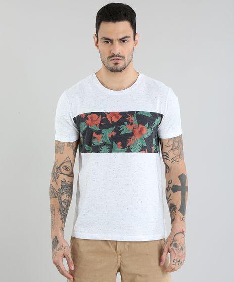 Camiseta-com-Recorte-Estampado-Floral-Cinza-Mescla-Claro-8838938-Cinza_Mescla_Claro_1