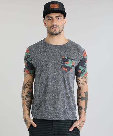Camiseta-com-Bolso-Estampado-Floral-Cinza-Mescla-Escuro-8839031-Cinza_Mescla_Escuro_1