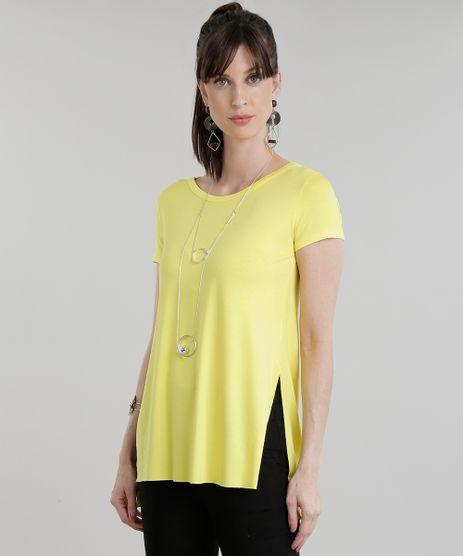 Blusa-Longa-Basica-com-Fendas-Amarela-8783273-Amarelo_1