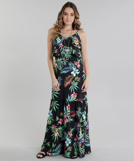 Vestido-Longo-estampado-Floral-com-Babado-Preto-8717668-Preto_1